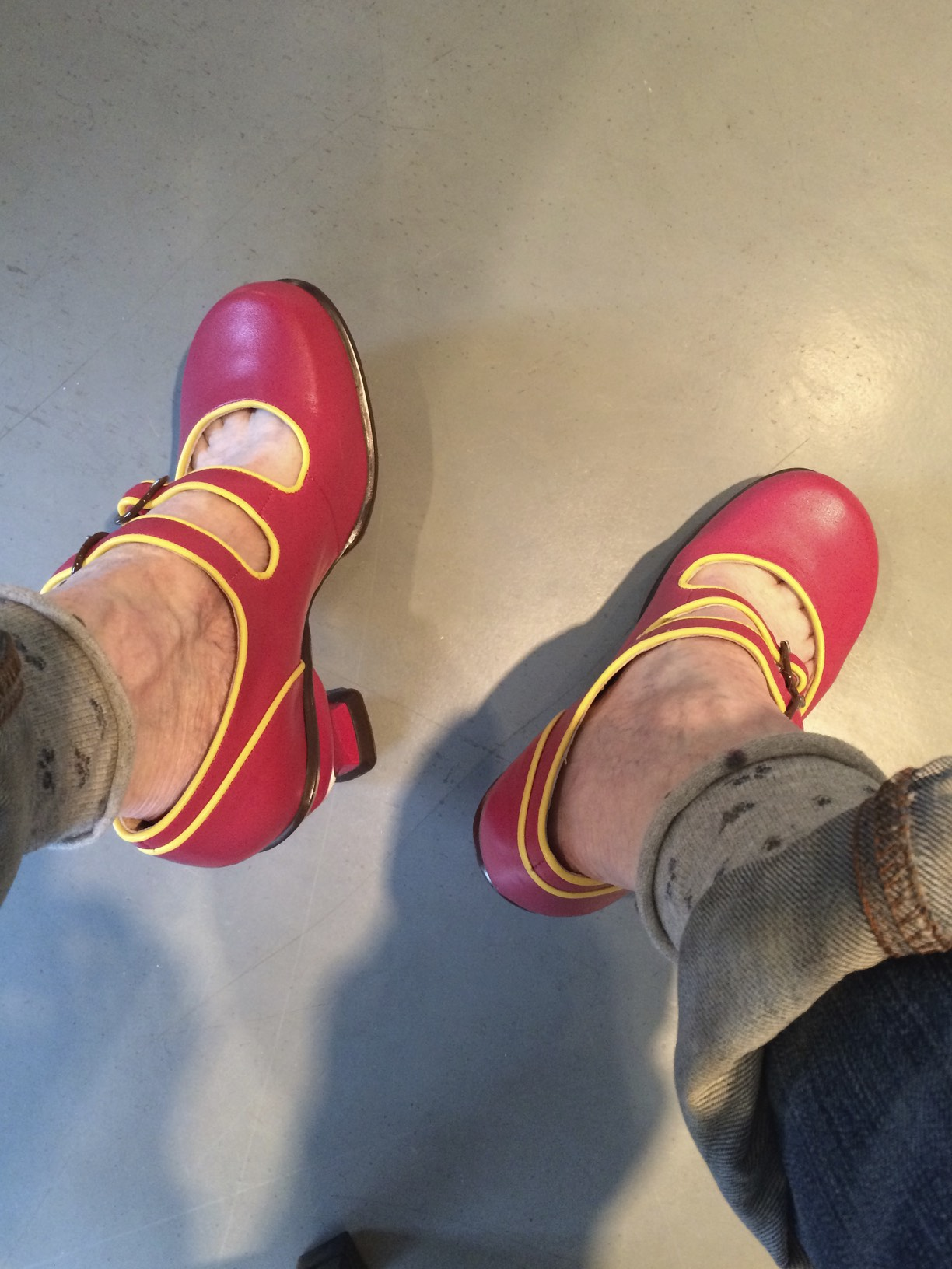 Another day...pink and yellow shoes...