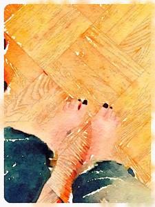 one heel off the floor